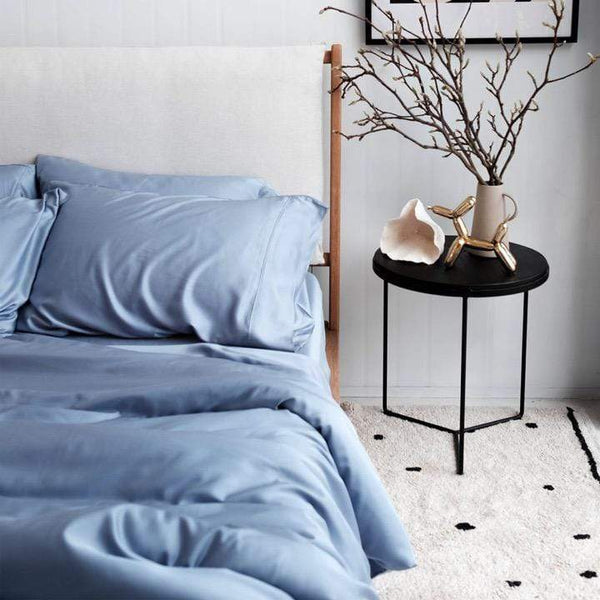 Mulberry Threads Co. Bed Linen + Towels Organic Bamboo Quilt Cover, Chambray