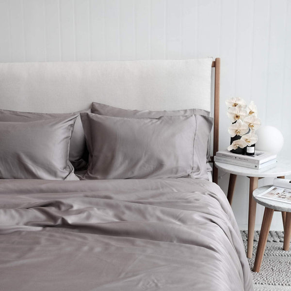 Mulberry Threads Co. Bed Linen + Towels Organic Bamboo Quilt Cover, Steel