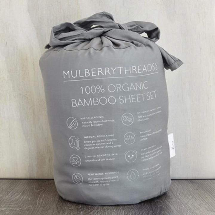 Mulberry Threads Co. Bed Linen + Towels Organic Bamboo Sheet Set, Steel