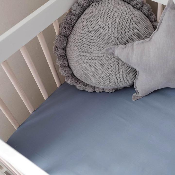 Mulberry Threads Co. LP Bedding Fitted 100% Organic Bamboo Cot Sheet, Chambray