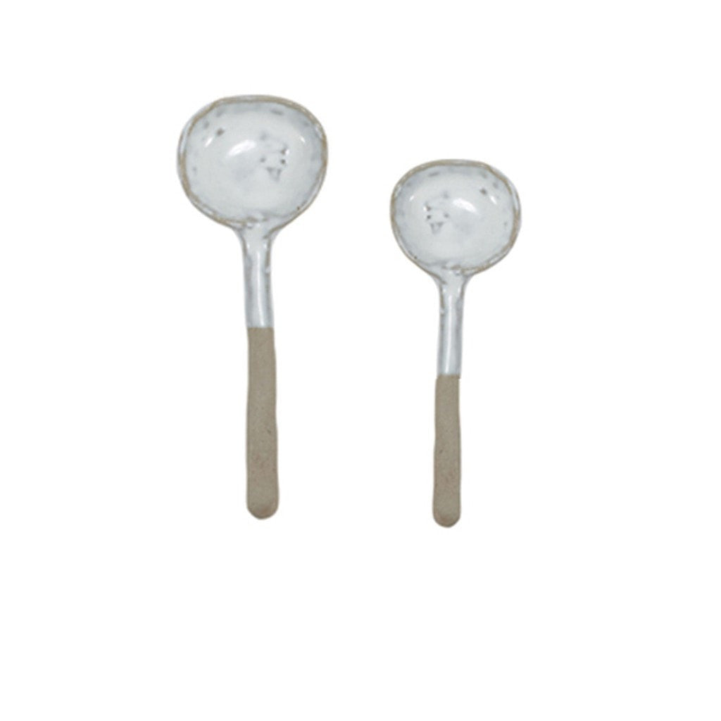 Papaya home decor Large Natural Clay and White Flint Bisque Spoon Set