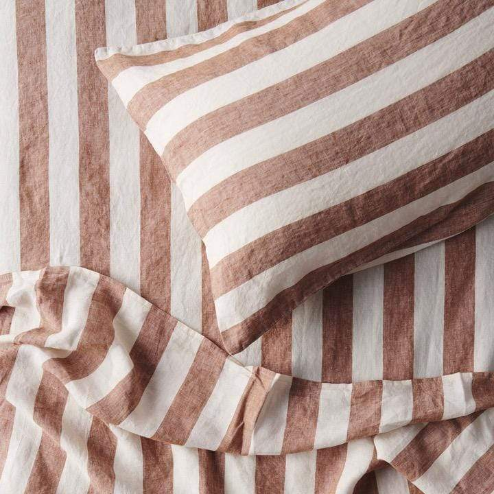 Society of Wanderers Bed Linen + Towels Tobacco Stripe Standard Pillowcase Set