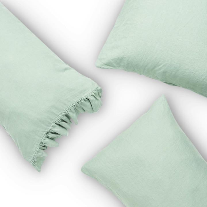 Society of Wanderers Bed Linen + Towels Wasabi European Pillowcase Set
