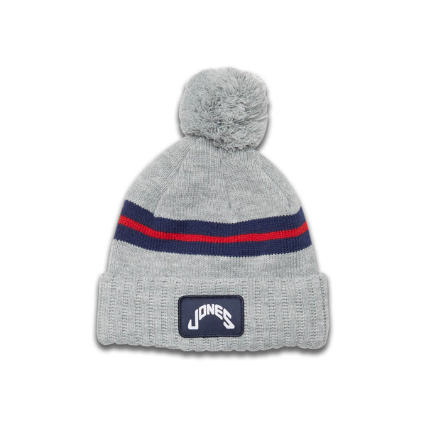 Jones Patch Beanie - Light Gray/Navy/Red