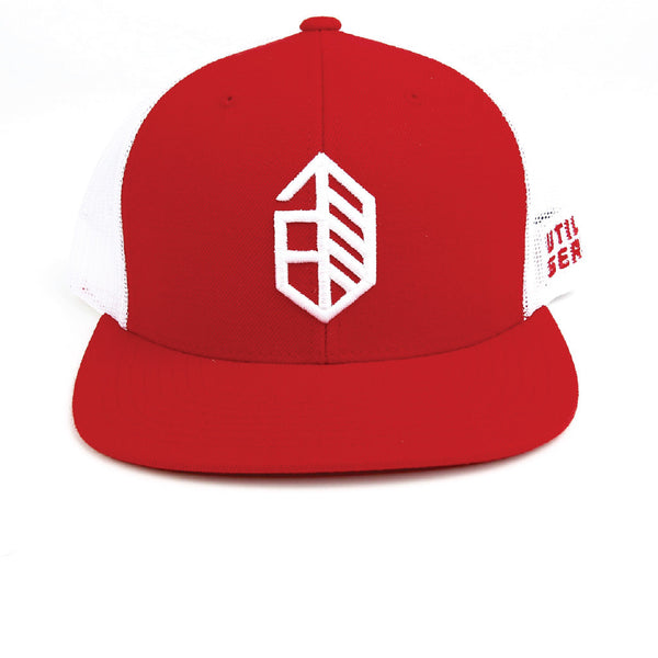 Jones Utility Icon Wool Mesh Snapback - Red White Combo