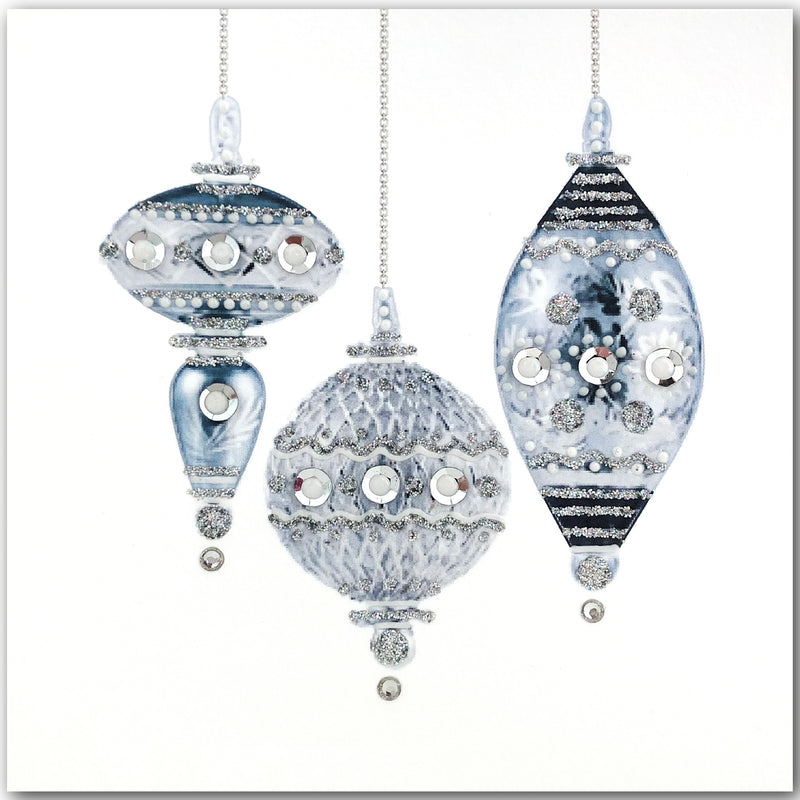 Silver Baubles - N1623 (Pack of 5)