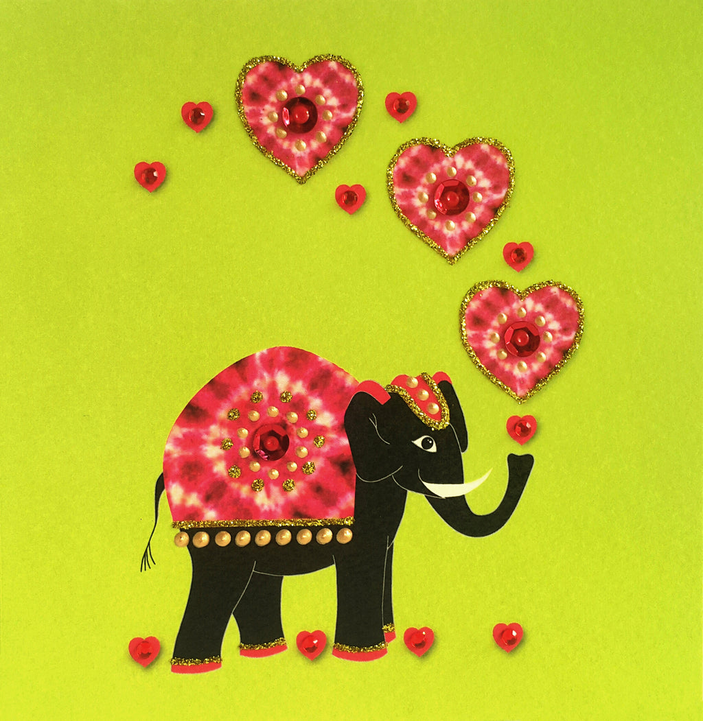 ELEPHANT WITH HEARTS - N1654-2 (PACK OF 5)