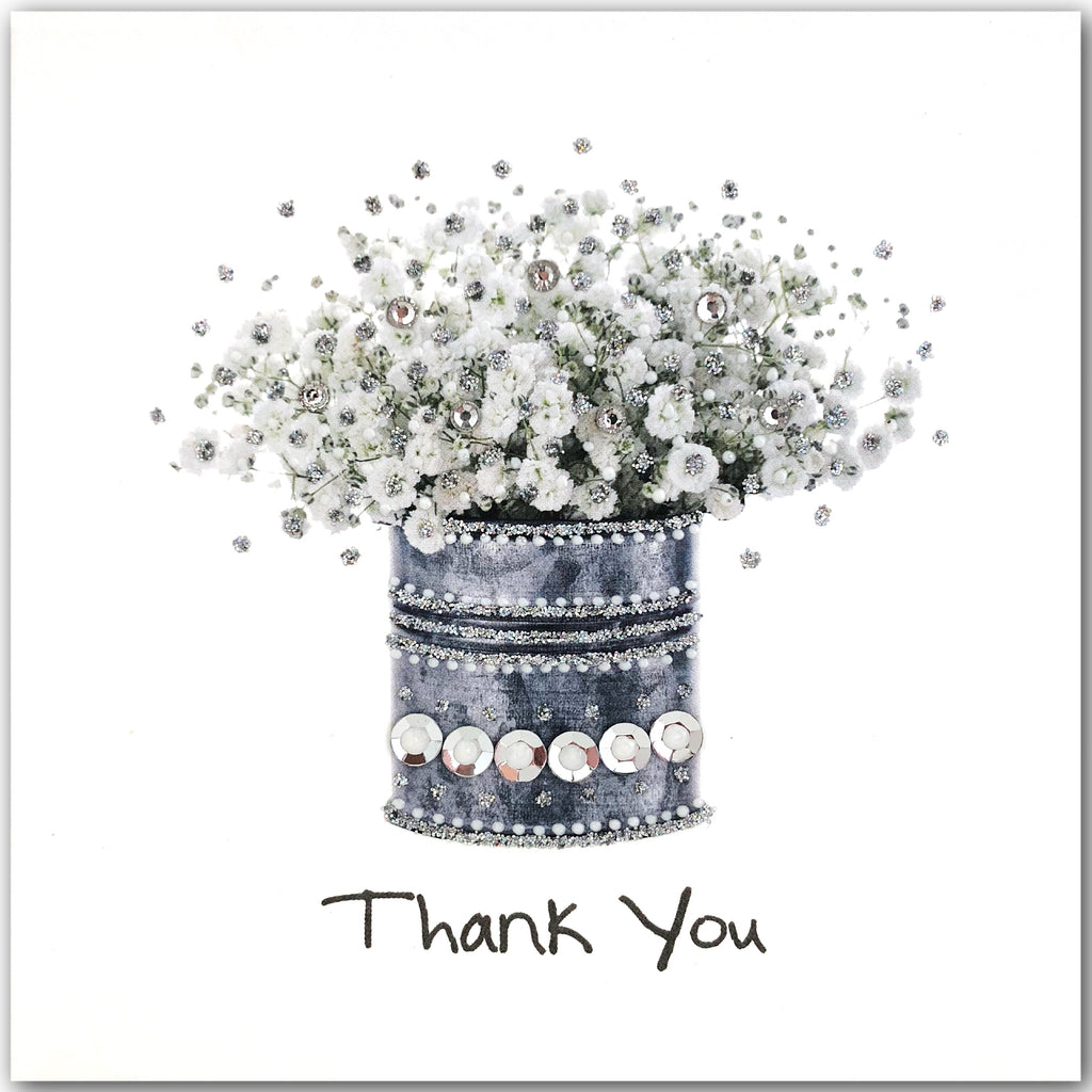 Silver Thank You Flowers - N1606