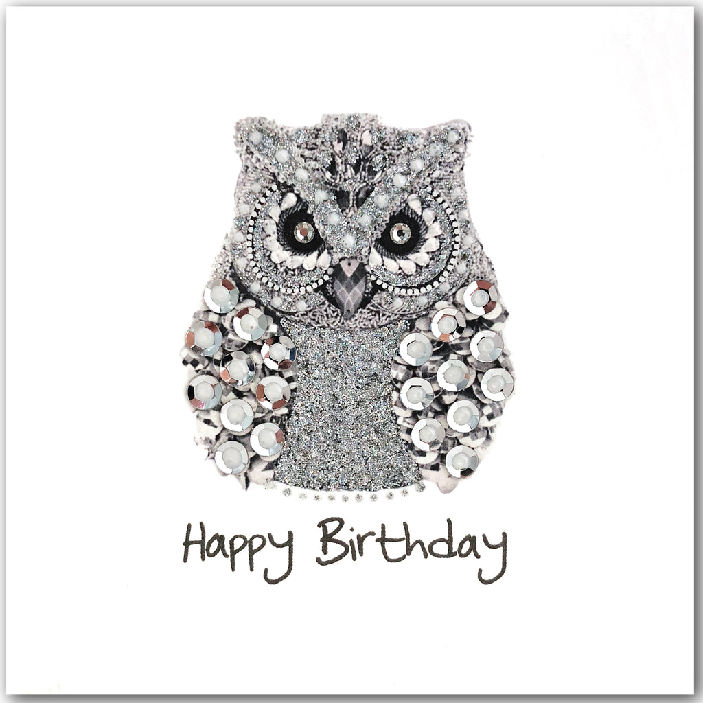 Silver Birthday Owl - N1605