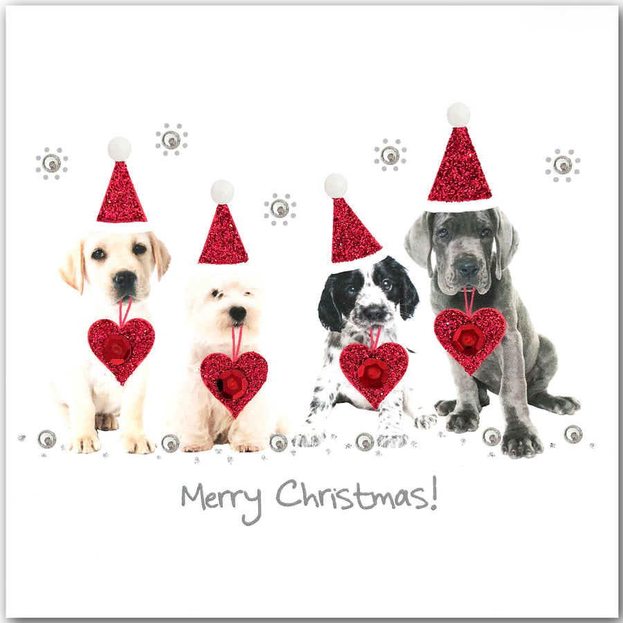 Merry Christmas Puppies.Christmas Puppies N1745 Pack Of 5