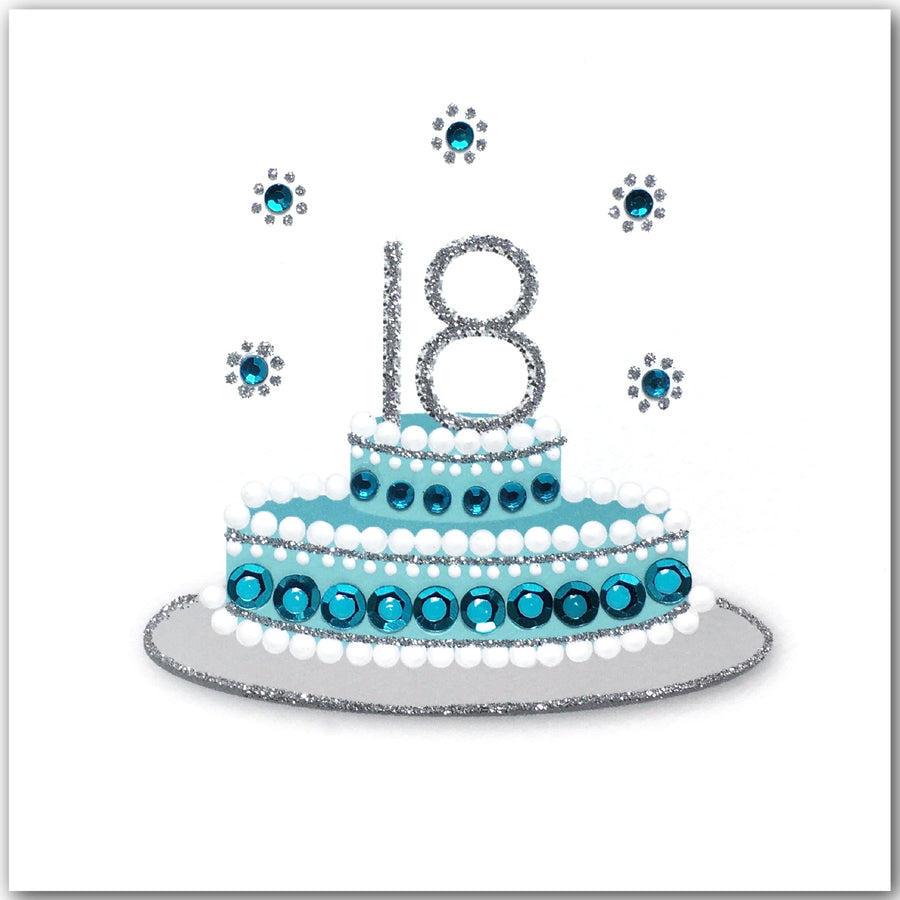 Astounding 18Th Birthday Cake Blue N1750 Jaab Cards Personalised Birthday Cards Veneteletsinfo