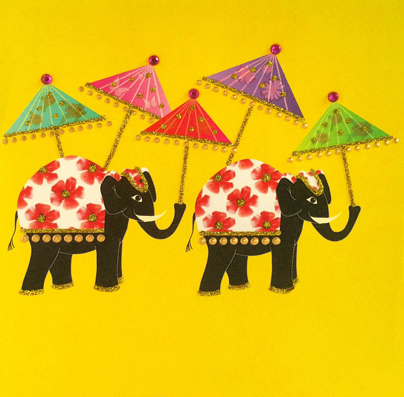 ELEPHANTS WITH PARASOLS - N2001 (PACK OF 5)