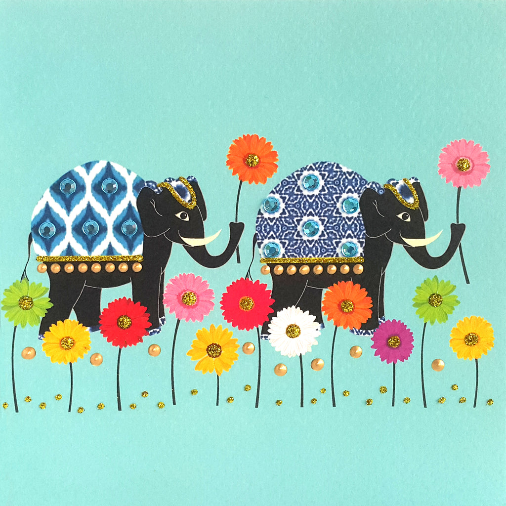 ELEPHANT WITH WILD FLOWERS - N2003 (PACK OF 5)
