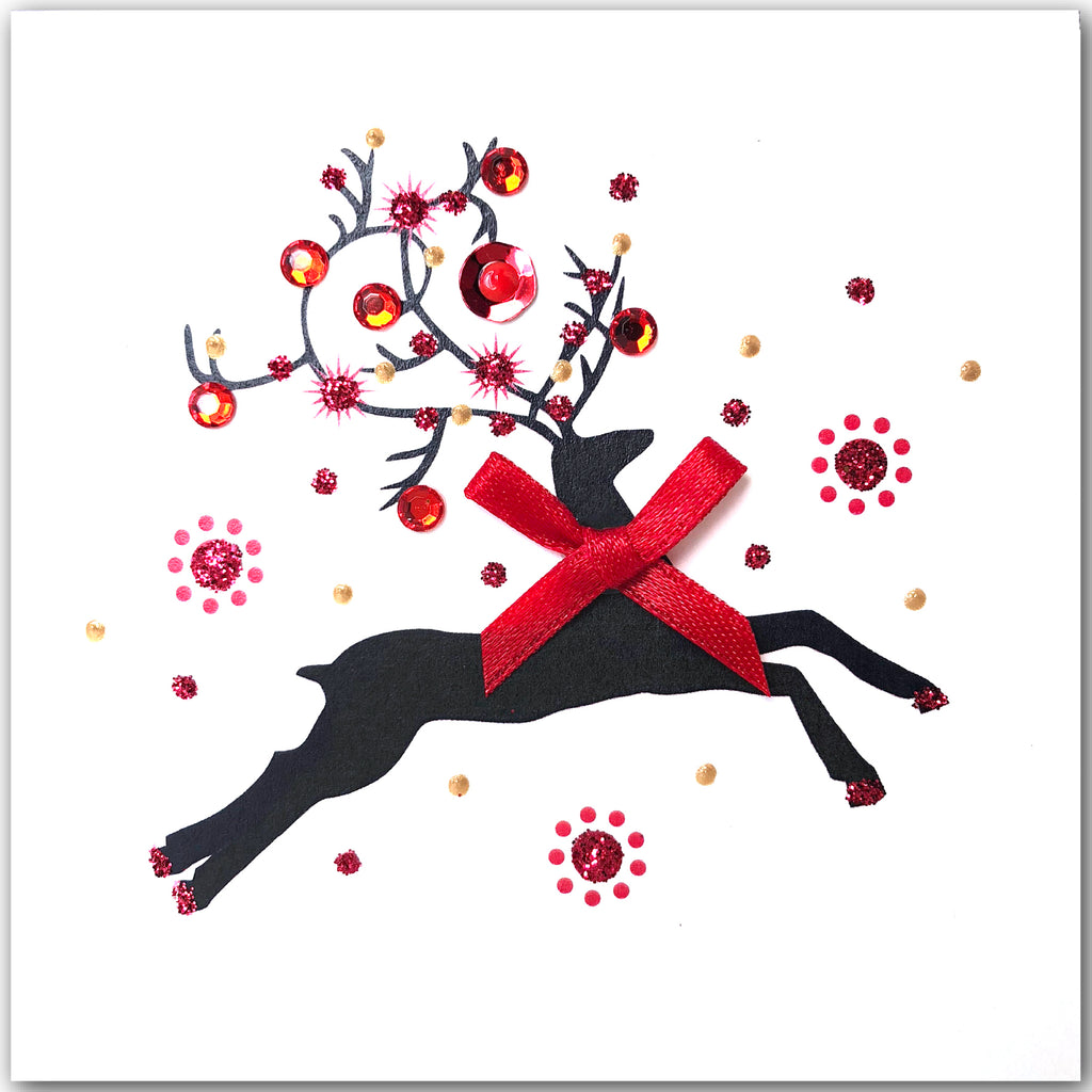 Dancing Reindeers - S1875 (Pack of 5 SMALL Cards)