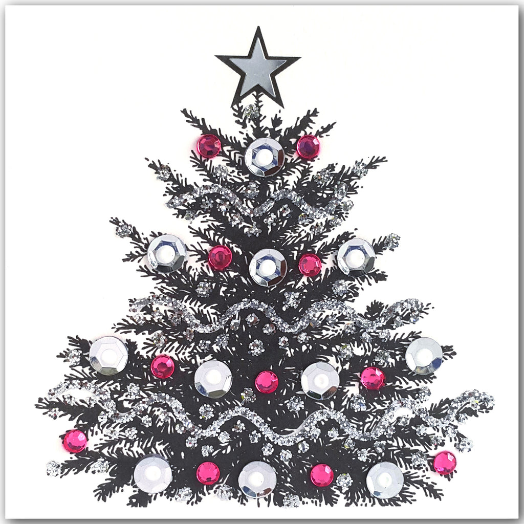 SILVER CHRISTMAS TREE - S1908 (PACK OF 5)