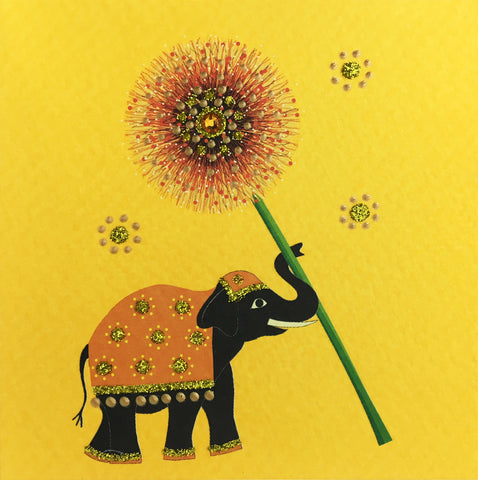 Elephant with Flower  - S655 (Pack of 5)