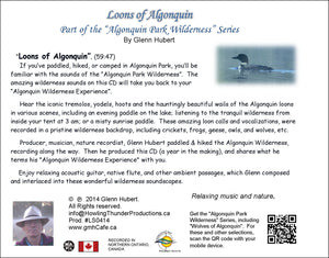 Loons of Algonquin Park CD back cover Glenn Hubert