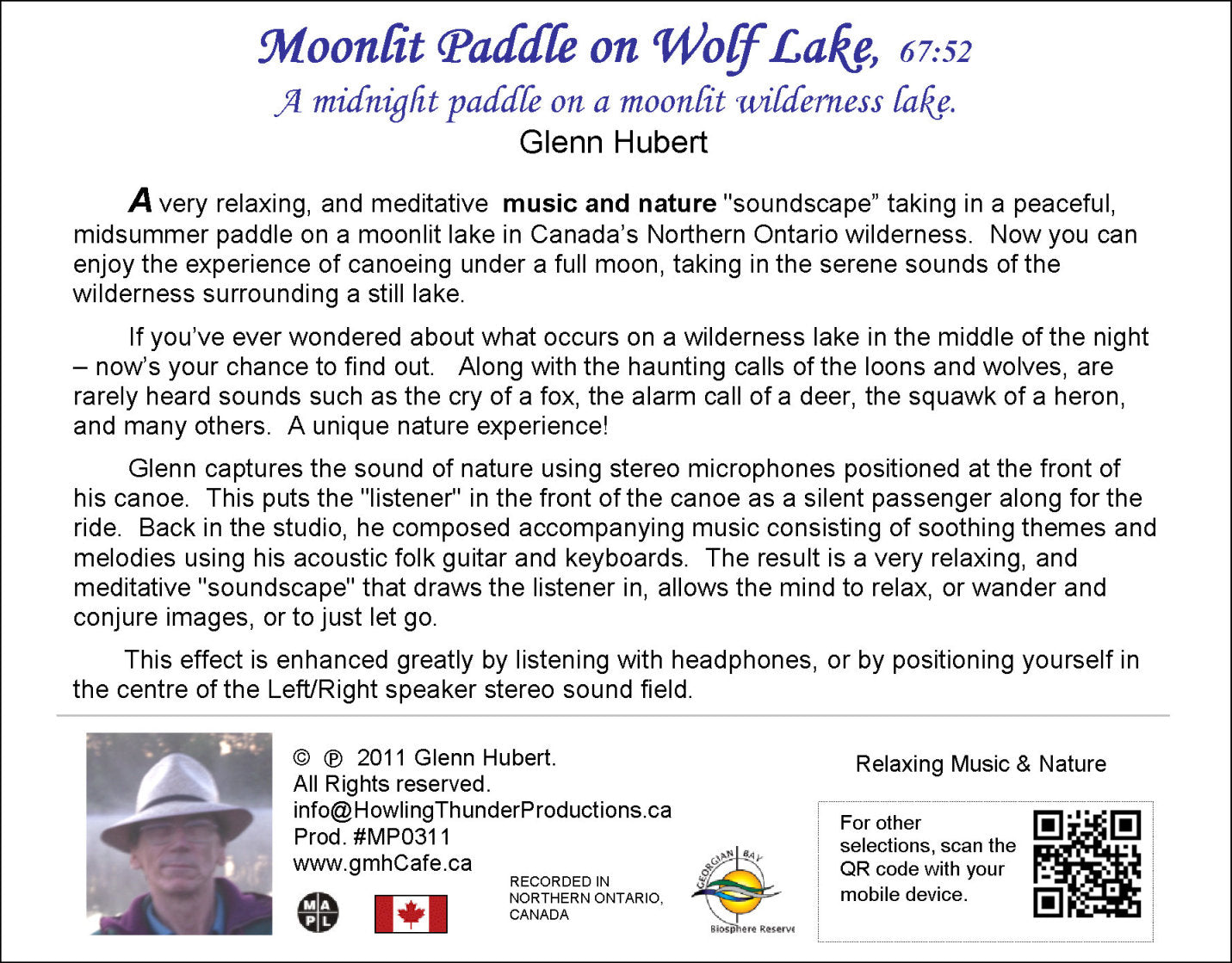 Moonlit Paddle on Wolf Lake Glenn Hubert CD back