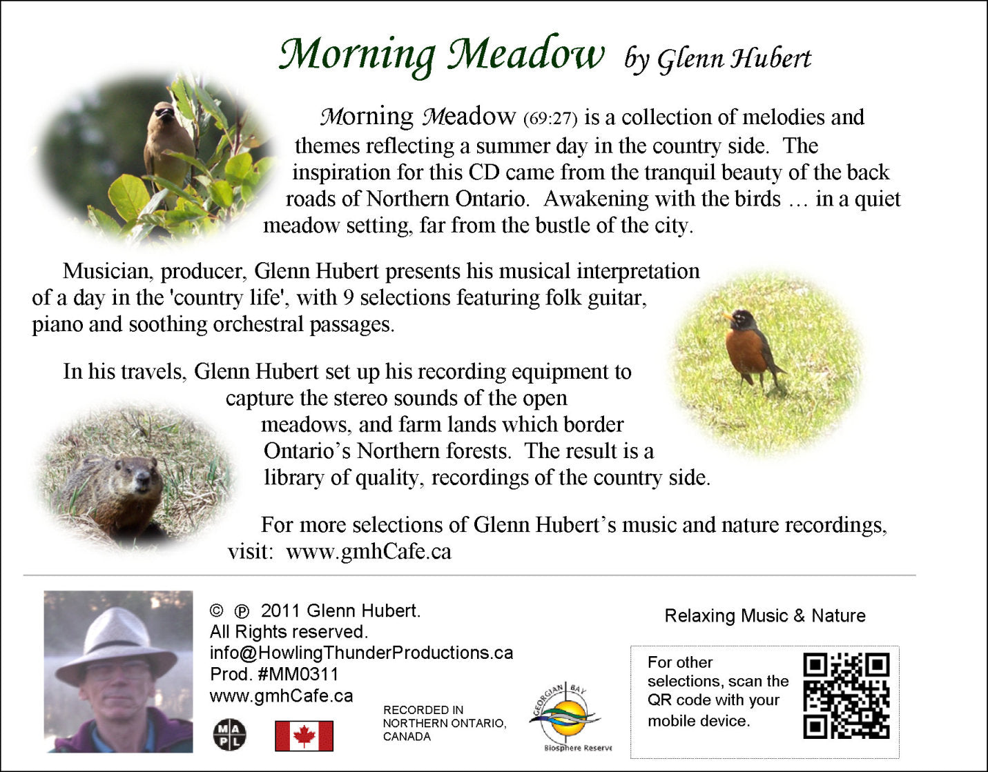 Morning Meadown Glenn Hubert CD back