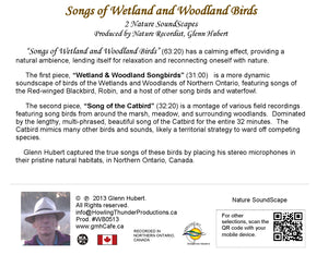 Songs of Wetland & Woodland Birds Glenn Hubert CD back