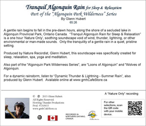 Tranquil Algonquin Rain Glenn Hubert CD Back Cover