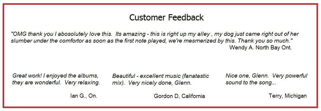 Compliments for Glenn Hubert's Music