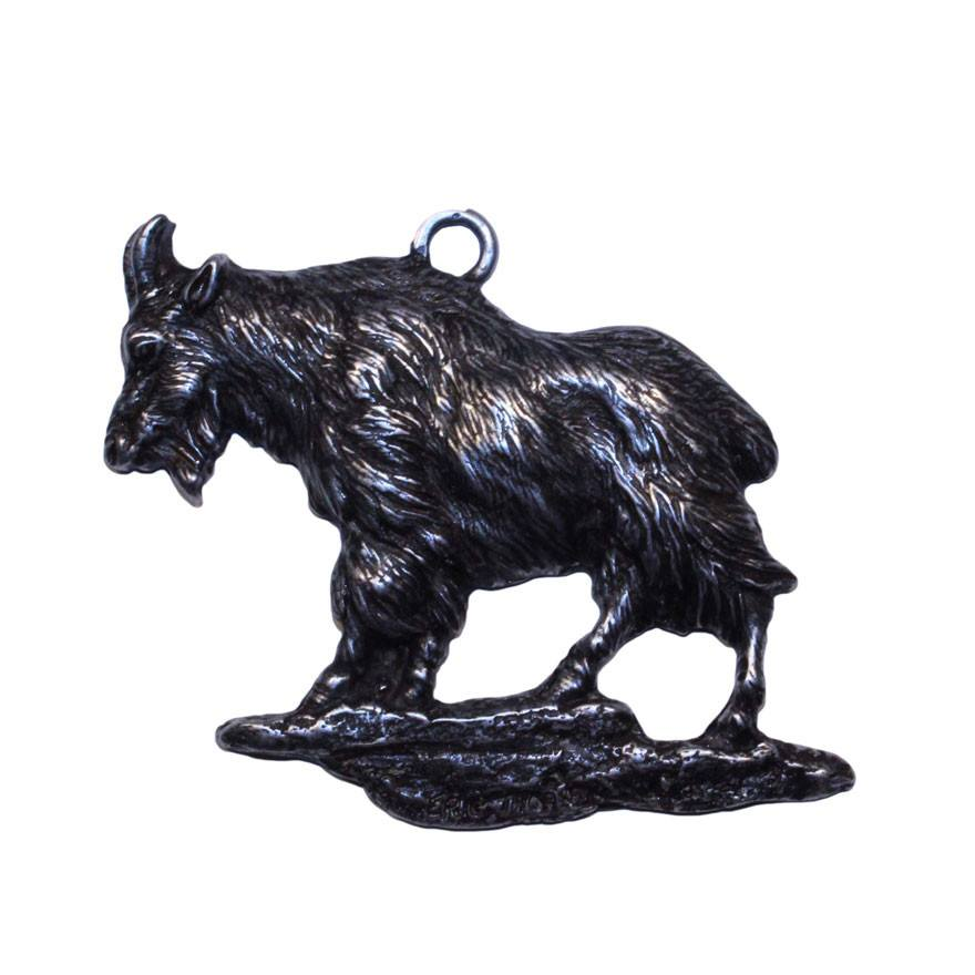 Goat Christmas Ornament.Rocky Mountain Goat Christmas Ornament Rear View Mirror Hanging Charm Medallion