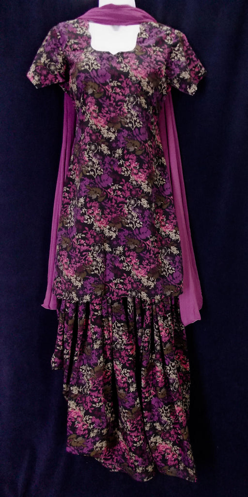 Plum and black patiala salwar kameez (S)