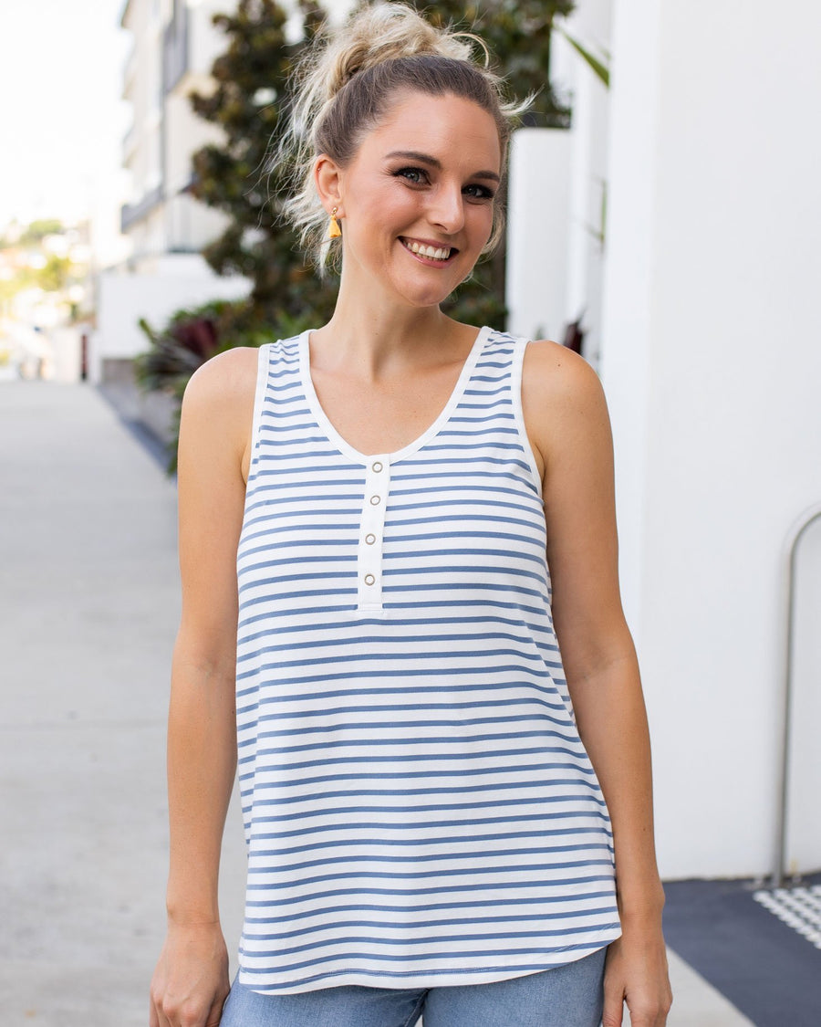Birdie Top - Denim Stripe