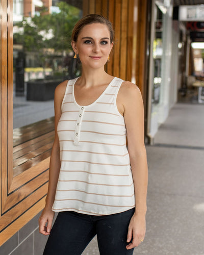 Birdie Top - Praline Stripe