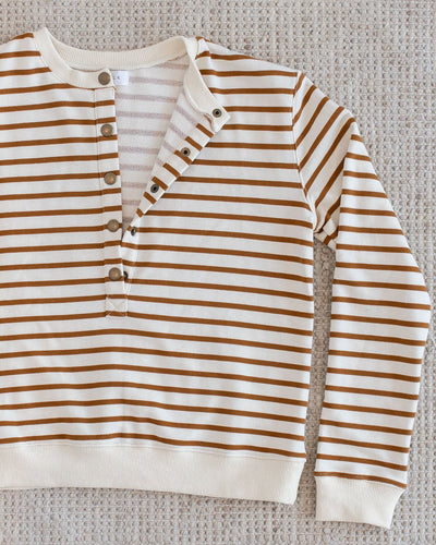 Crew Sweater - Toffee Stripe