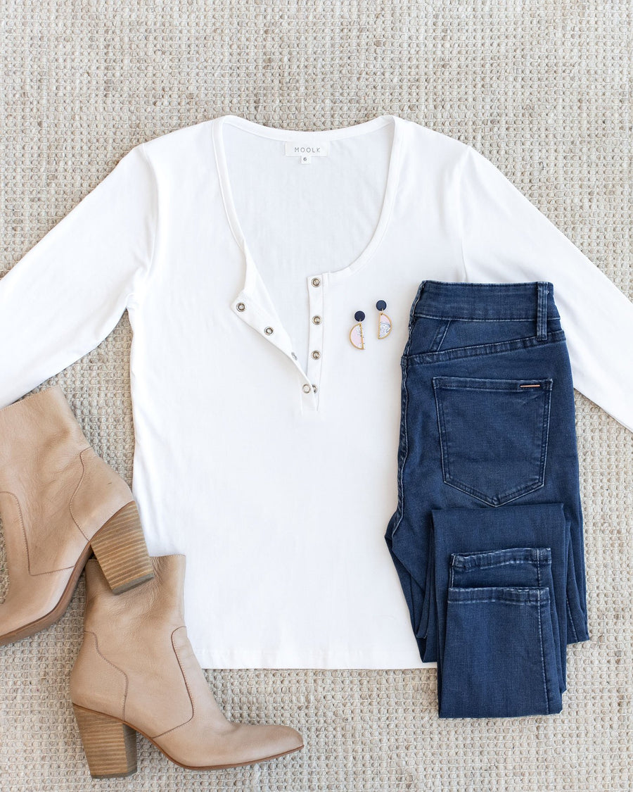 White Long Sleeve Breastfeeding Tops  | MOOLK