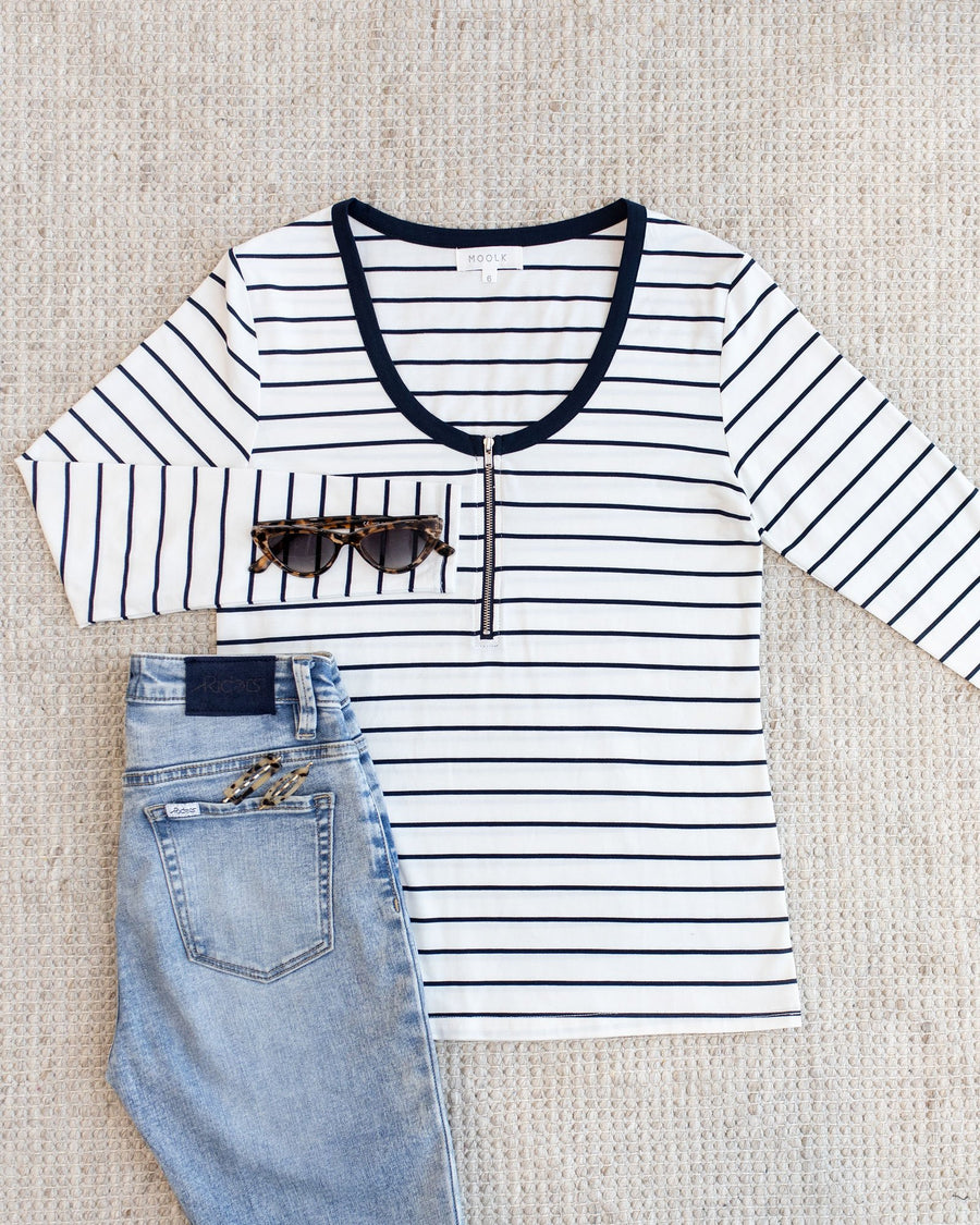 Classic Striped Breastfeeding Winter Tops | MOOLK