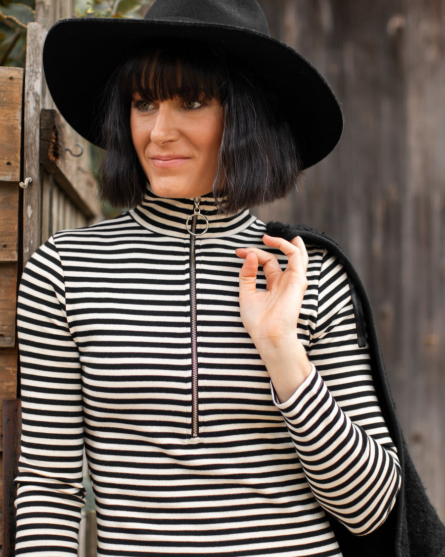 Anthea Dress - Black Stripe