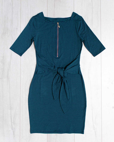 Sara Dress - Green Stripe