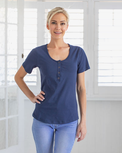 Navy Breastfeeding Friendly Tshirt with Press Clips | MOOLK
