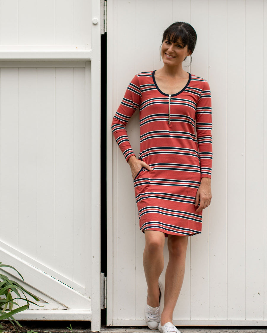 Mikey Dress - Brick Stripe