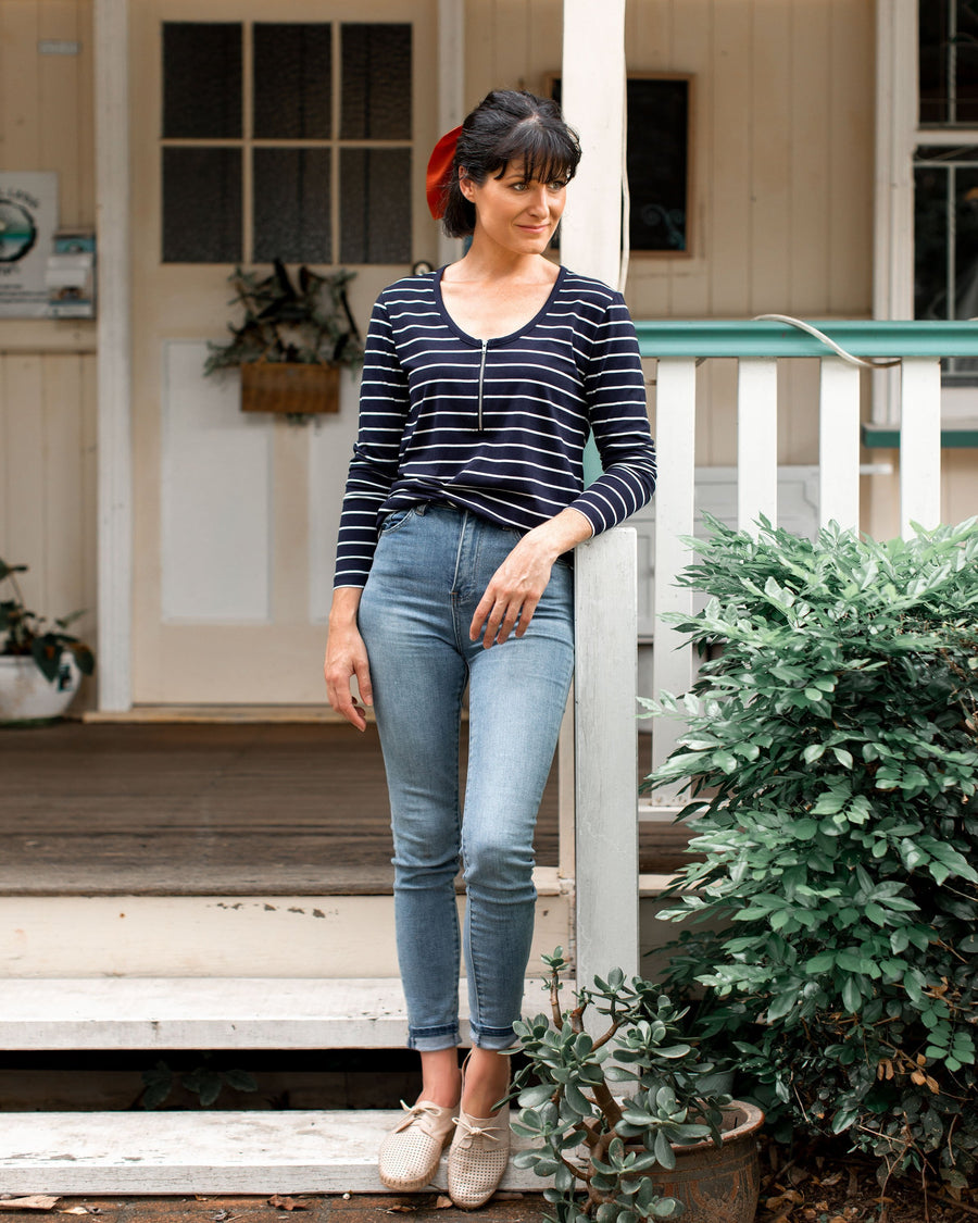 Mikey Top - Navy Stripe