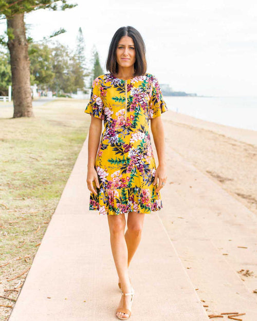 Binny Dress - Mustard Floral