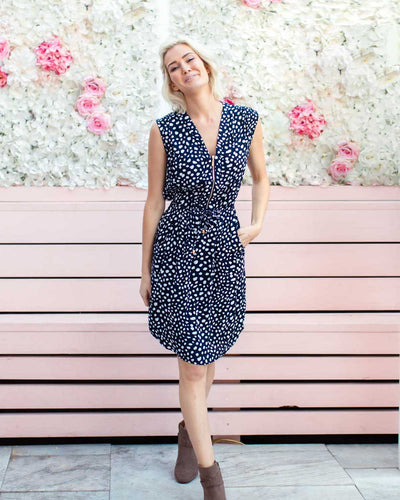 Frontier Dress - Navy Dots