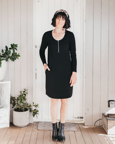 Black Long Sleeve Breastfeeding Friendly Dresses | MOOLK