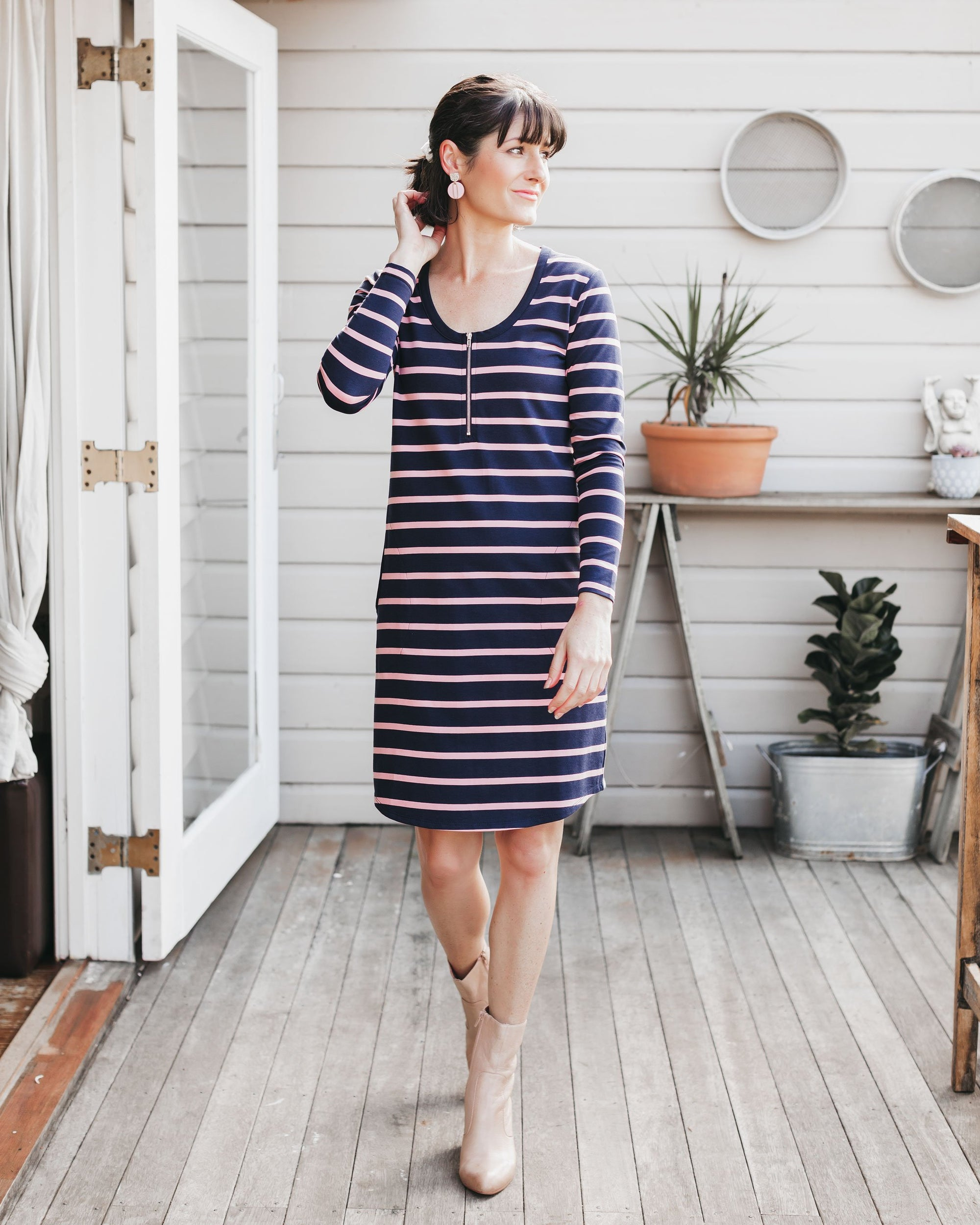 Mikey Dress - Blush Stripe