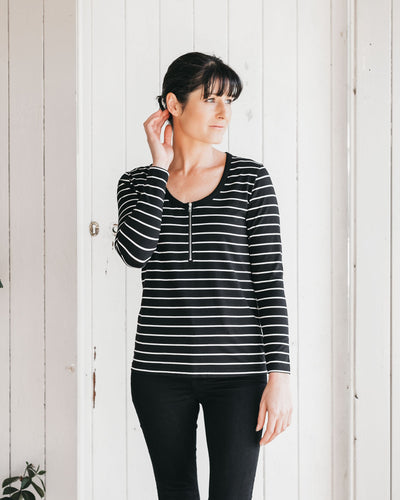 Simple Breastfeeding Top with Long Sleeves | MOOLK