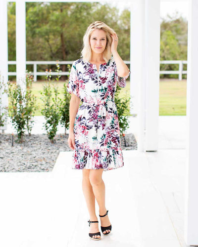 Binny Dress - White Floral