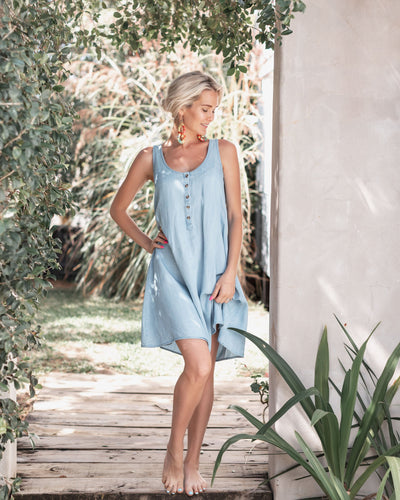 Chambray Dress for Breastfeeding in Summer | MOOLK