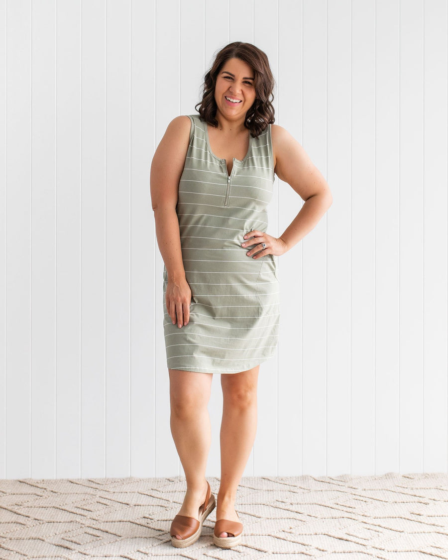 Tank Dress - Sage Stripe