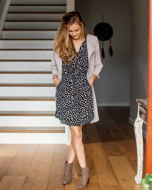 Bryce Dress - Black Polka