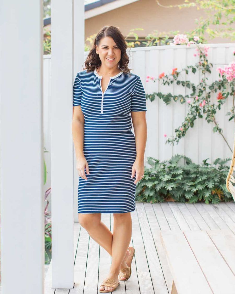 Kaia Dress - Ocean Stripe