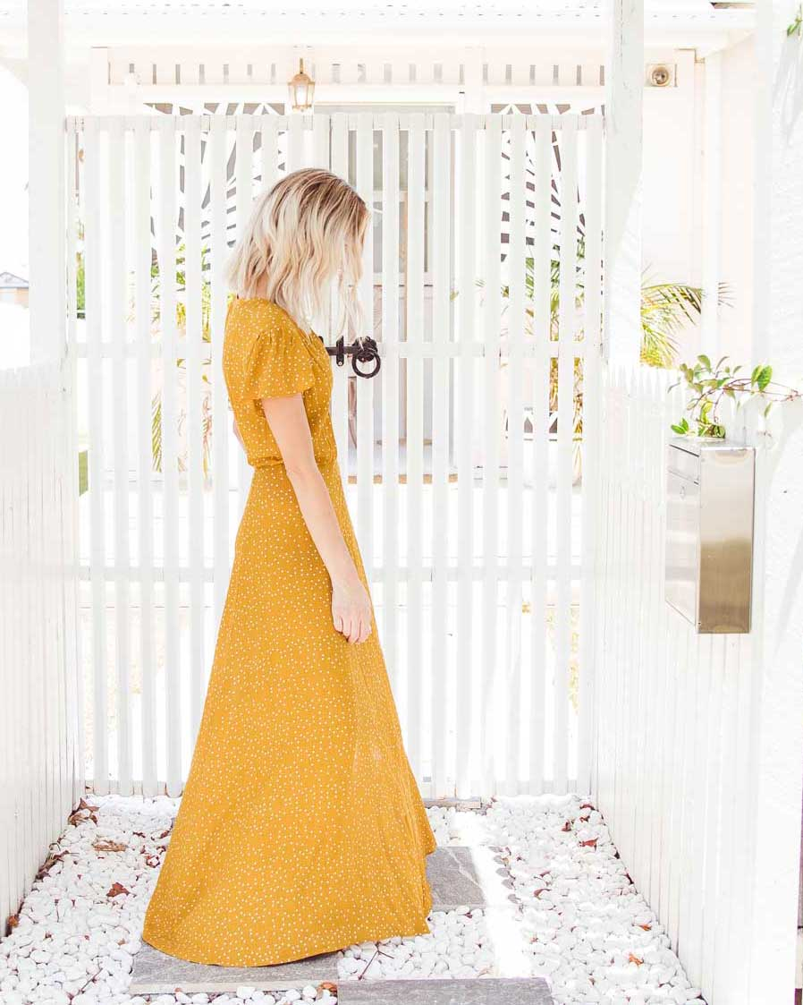 Eva Maxi Dress - Mustard Dots
