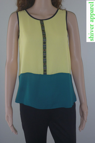 Yellow and Dark Green Top